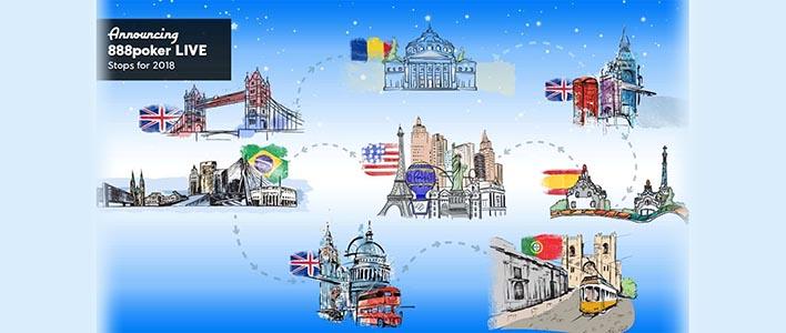 Så er det spritnye program for 888 LIVE poker 2018 klar! Vi skal til London, Lissabon, Bukarest og mange andre steder. Læs meget mere om årets kommende live poker turneringer her ➔